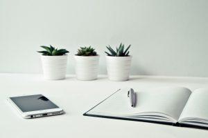 Schreibtisch mit Notizheft, Kugelschreiber, Handy und Pflanzen